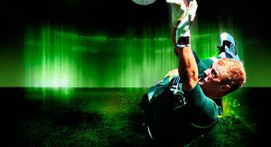 black and green design of football player