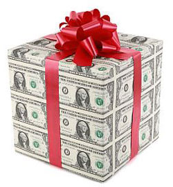 Cash Wrapped as Present