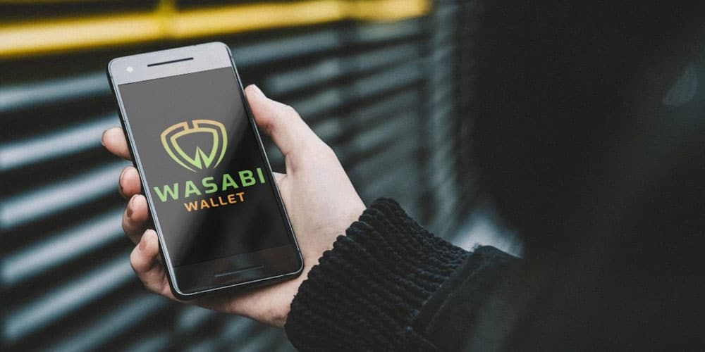 person launching wasabi bitcoin wallet on smartphone