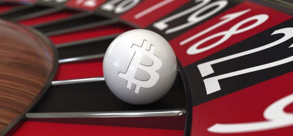 roulette ball with a bitcoin casino logo