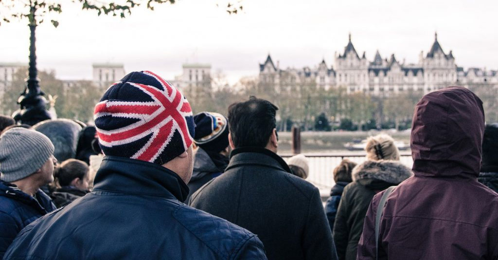 photo of british crowd meeting in london